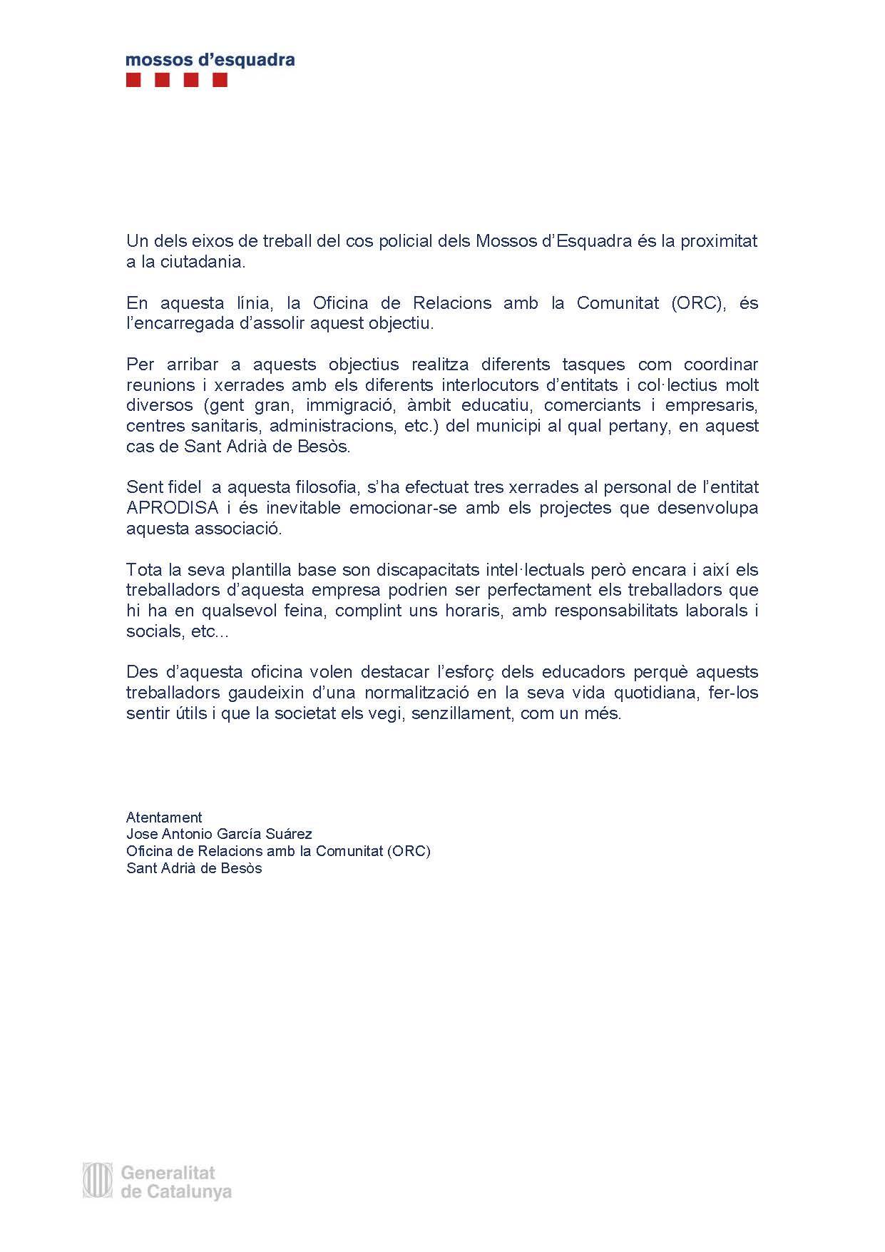 Carta a Aprodisa dels Mossos d' Esquadra